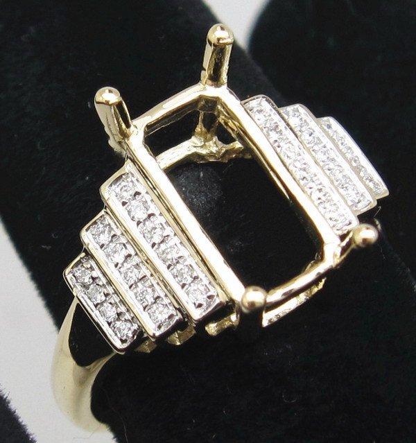 Free Shipping! 5x11mm Emerald 14k Yellow Gold Diamond Simi Mounts 14ct Wholesale Ring