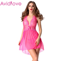 Avidlove Brand Unique Design Women Bow Transparent Nightwear Sleepwear XXL Sexy Lingerie Lace Dress and G