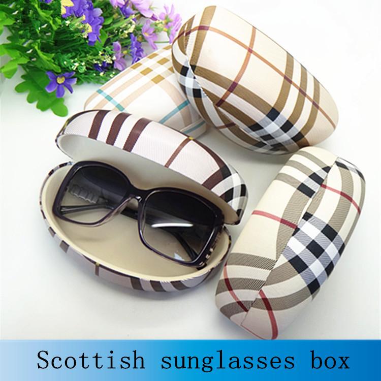 Hot sale fashion hard big sunglasses box for women suglasses case font b plaid b font