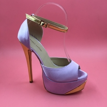 Lavender Satin Women Pumps Ankle Strap Peep Toe High Heels Shoes Ladies Party Pumps Womens Shoes Size 10 Open Toe Heels(China (Mainland))