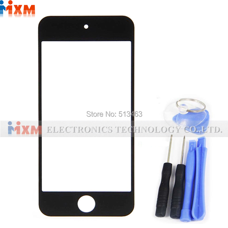 100% New Black For ipod touch 5 Front Outer Touch Screen Glass Lens Assembly Tools + Track number(China (Mainland))