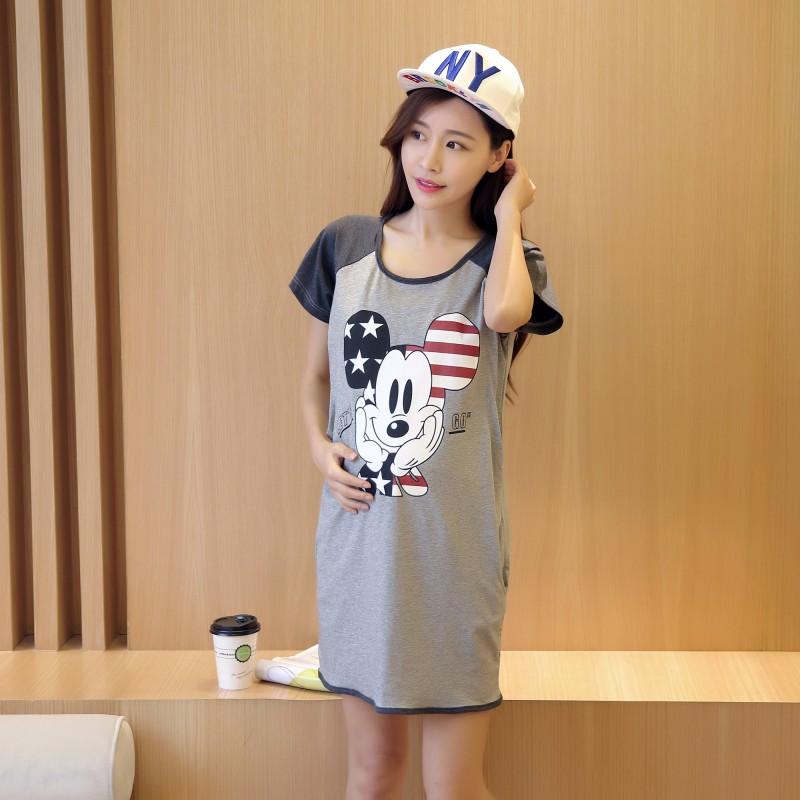 1pcs Pregnancy Straight Nursing Dresses Summer Character Cotton Maternity Clothing Feeding Dresses Tops(China (Mainland))