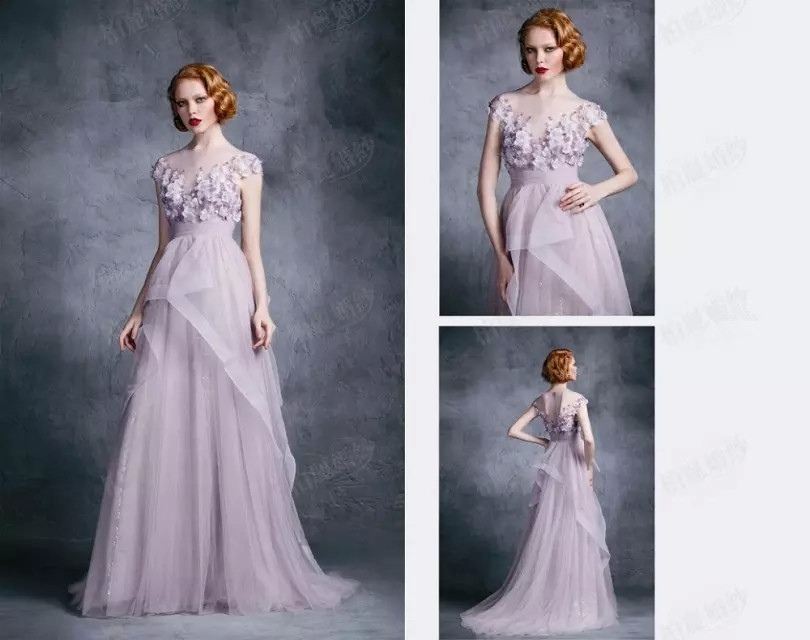Lilac Evening Dress A-Line Organza Flowers Short Sleeve Court Train Evening&Prom Dresses Party Dress Special OccasionDresses(China (Mainland))