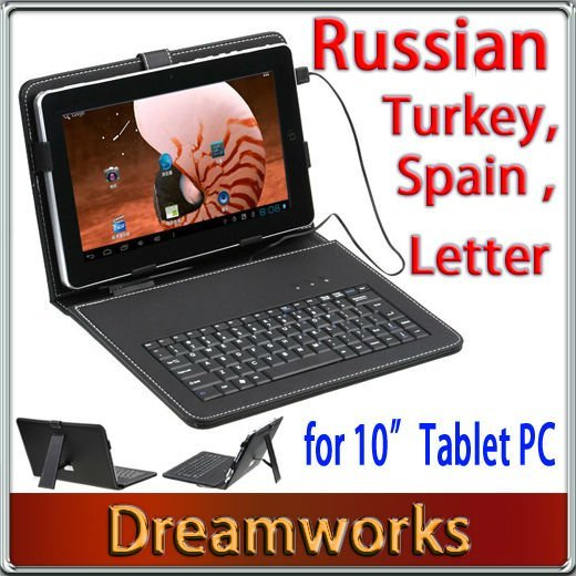 10 inch Russian Keyboard&Artifical Leather Cover/Case with Bracket+Touch Pen+USB Port for Tablet Pc/MID