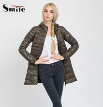 Women Ultra Light Down Jacket Winter Duck Down Parka Jackets Women Slim Thin Long Sleeve Parka Zipper Coats Pockets Solid