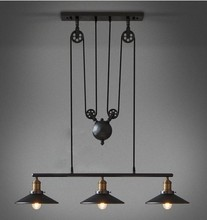 Vintage Loft Industrial LED American Country Ceiling Lamp Pendant Lights Adjustable Wire Lamps Retractable Decoration Lighting(China (Mainland))