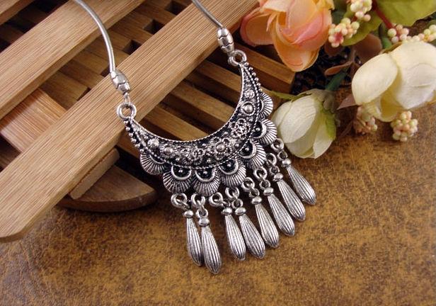 NR111 Bohemian Carved Flower Moon Pendant Tibetan Silver vintage retro Choker Collar Necklace jewelry Women Girl - Mistery co.,ltd store