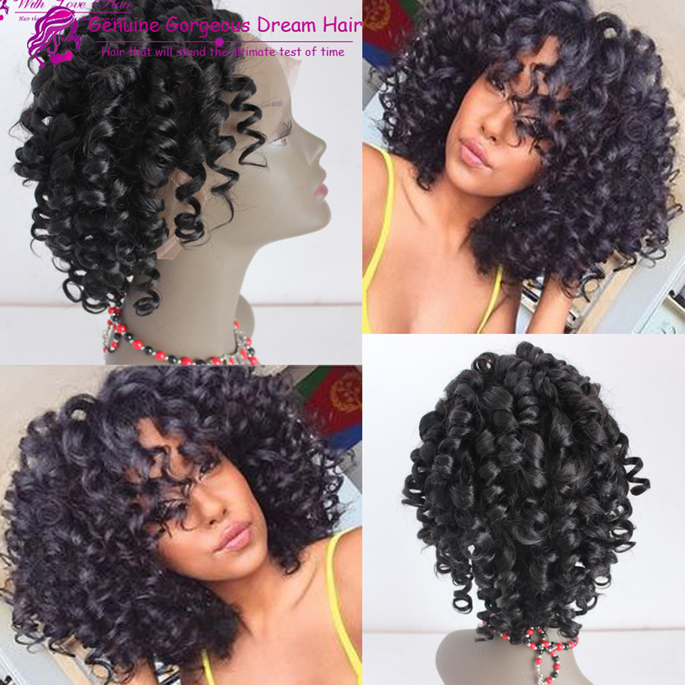 2015 New Virgin Malaysian Curly Full Lace Human Hair Wig Glueless Curly Lace Front Short Wig Baby Hair For Black Women<br><br>Aliexpress