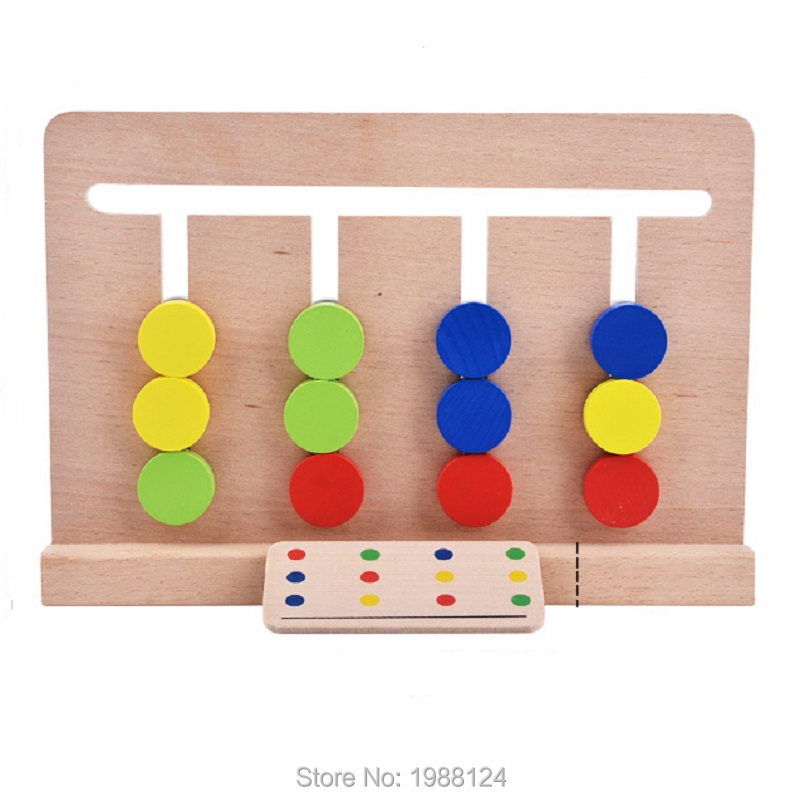 Montessori Wooden Educational Toy Baby Toy Montessori Four Colors Game Color Matching for Early Education Preschool Training Toy(China (Mainland))