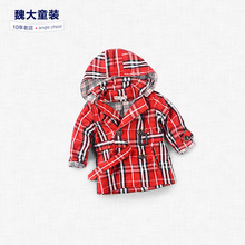 a coat in the long section of Euramerican children's clothing casual jacket cotton double breasted plaid coat boy child