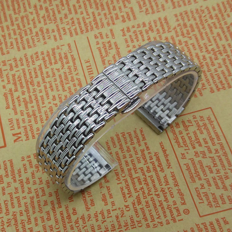 Silver Stainless Steel Watchband Straps Bracelets Watches Accessories Men Women Common Replacement butterfly buckle 20MM 22MM(China (Mainland))
