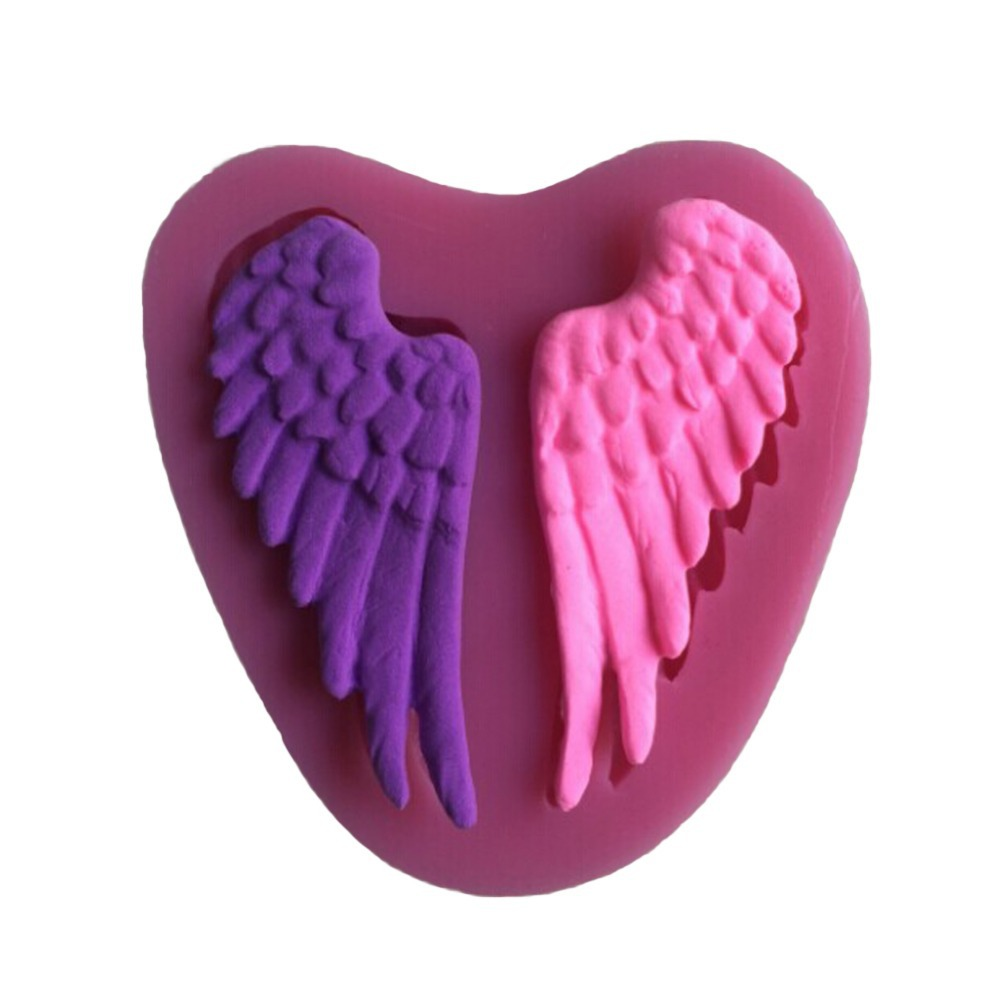 Beautiful Angel Wings Shape Silicone 3D Mold Cookware Dining Bar Non-Stick Cake Decorating Fondant Soap Mold--C241(China (Mainland))