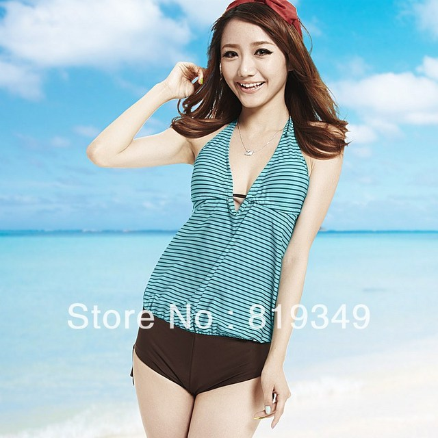 2013 New Arrival VANCL Women's Fashion Livia Striped Halterneck Sexy Fresh Gallus Swimsuit Aqua FREE SHIPPING