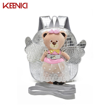 Buy KN Anti-lost Cute Angel Bear School Bags Girls Leather PU Baby Girl Backpack Kindergarten Bags Children's Gifts Age 1-3 for $13.93 in AliExpress store