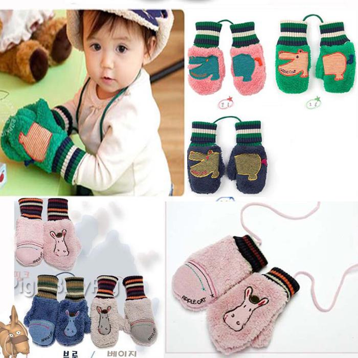 Korean Lamb Velvet cute small donkey hippo animal baby fleeece cartoon gloves Children mittens free shipping ST6007(China (Mainland))