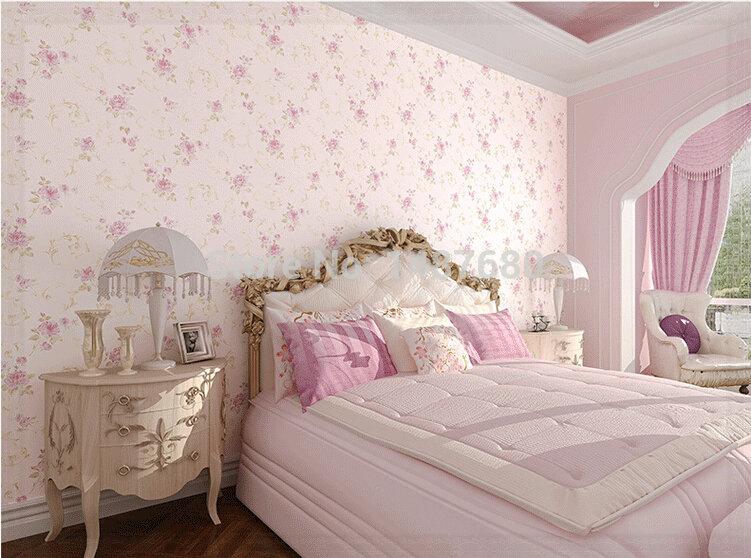 Modern rose flower romantic floral flocking non woven for 3d rose wallpaper for bedroom
