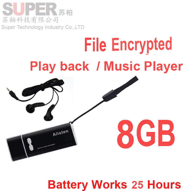 X13 8GB USB memory+MP3 player w/ voice activated audio voice recorder& file encrypted flash disk music player battery 25H(China (Mainland))