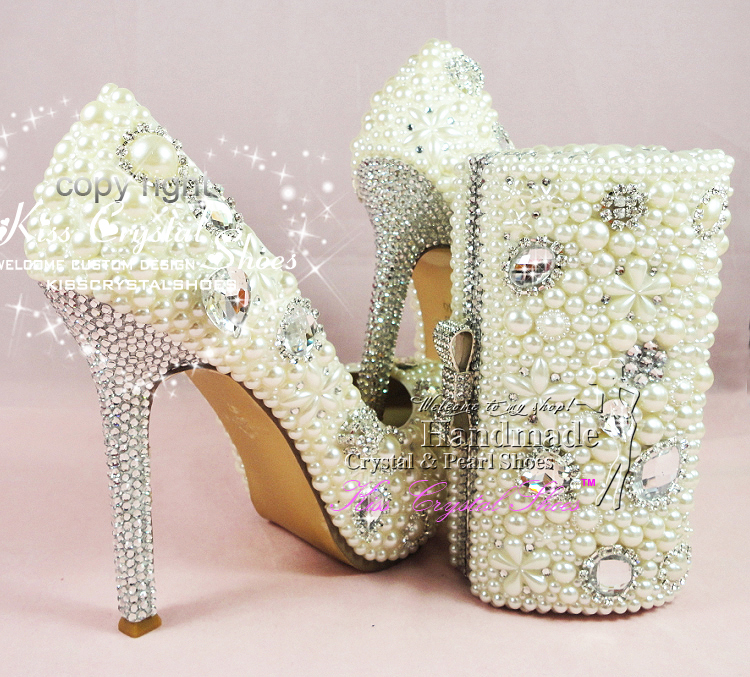 Aliexpress Buy IVORY WEDDING Shoes Cream Pearl BRIDAL PARTY SHOES High Heel Pumps Women