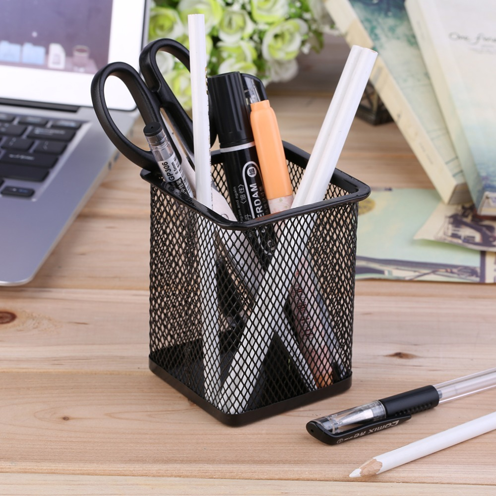 Office Desk Metal Mesh Square Pen Pot Cup Case Container Organiser Holder Brand New(China (Mainland))