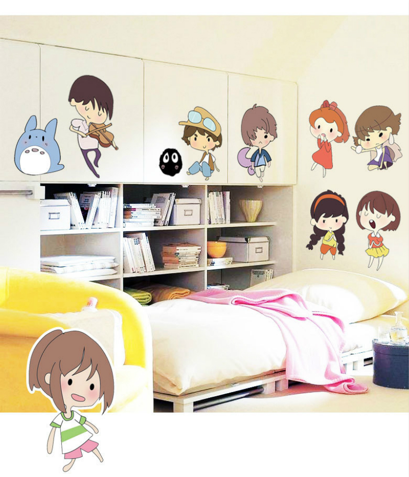 Cute Childen Wall Stickers Home Decor Accessory House Decoration For Wall Cartoon Art Wallstickers For Kids Bedroom Wallpaper(China (Mainland))
