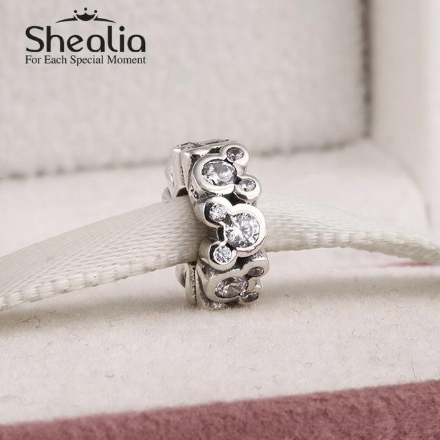 2015 новый стерлингового серебра 925 микки прокладки подвески вымощает ясно циркон подвески diy ювелирных fit известный бренд браслеты Er463