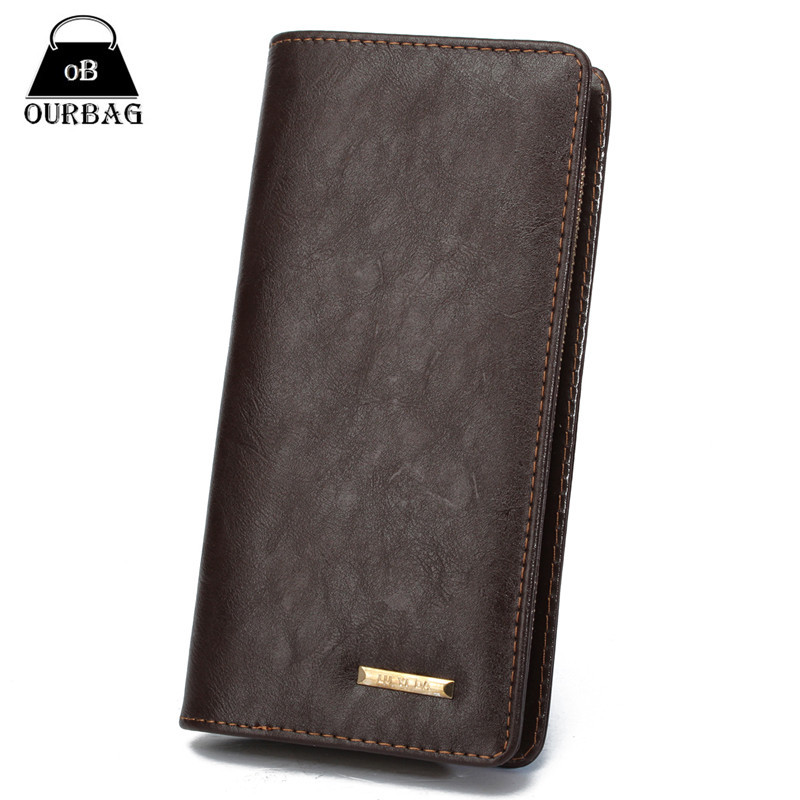 2015 New Wallet Mens Long Zipper Coin Purse PU Leather Notecase Business Male Clutch Carteira Phone Bag Masculina 2 Colors 1pcs(China (Mainland))