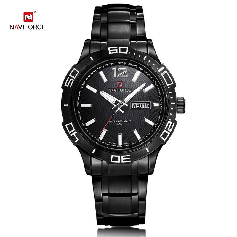 Top Luxury Naviforce Black Mens Brand Watches Stainless Steel Quartz Men Wrist watch Classic Date week relojes hombre 2016 New<br><br>Aliexpress