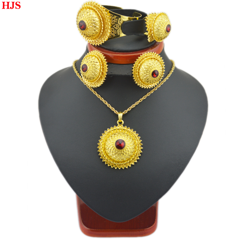 Big size Ethiopian  color stone sets  24k Gold plated sets  for African /Ethiopian /Eritrean women  jewelry sets<br><br>Aliexpress