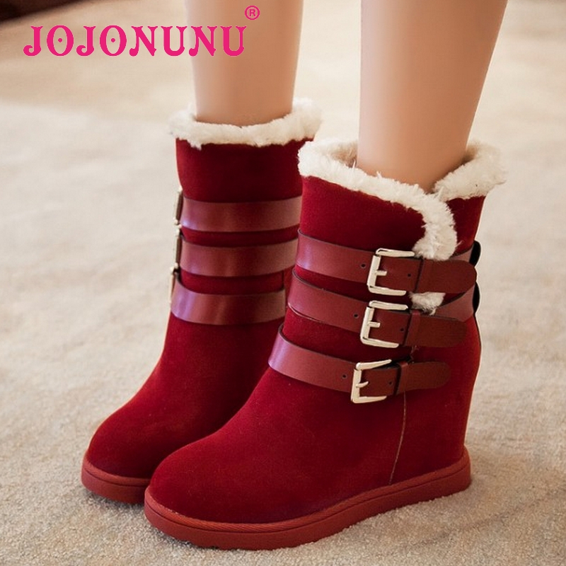 women wedge ankle boots water proof half short snow winter boot cotton fashion footwear warm botas heels shoes P19279 size 34-39<br><br>Aliexpress
