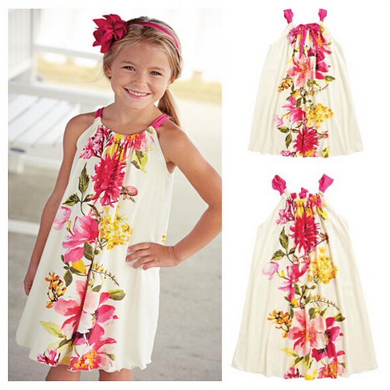 Girls Dress Party Summer 2016 Knee Length Girls Floral Drawstring Dress Children Causal Dress Beach Kids Dress Toddler Clothes<br><br>Aliexpress