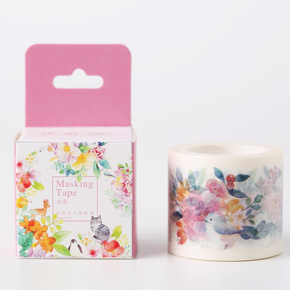 40mm Watercolor Flowers Cinta Adhesiva Decor Japanese Washi Tape 10m Scotch Masking Tape Scrapbooking Stickers Kawaii Papeleria<br><br>Aliexpress