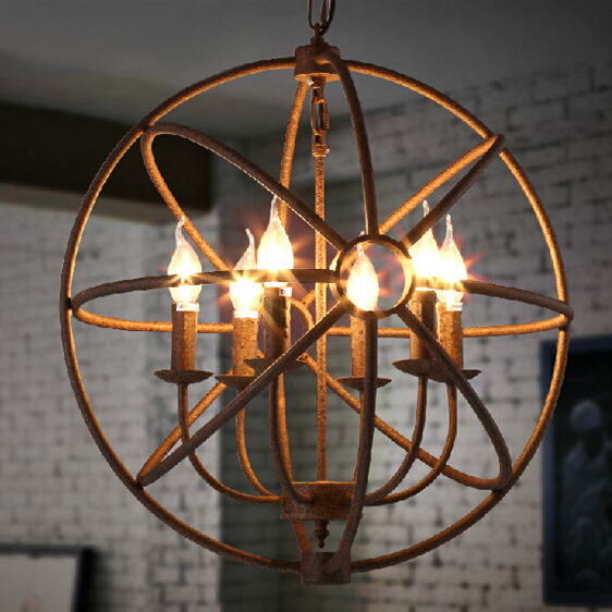 American Retro Pendant Light Loft Vintage Industrial Hanging Lamp Living Room Dinning Room Birdcage Lamp with Candle Lights<br><br>Aliexpress