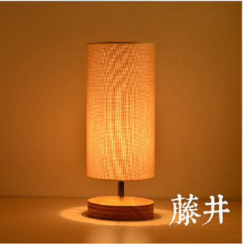 Free Shipping Fabric Shade And Base Wood Modern Restaurant Table LightsSimple Wooden Desk Lighting/Table Lamp/Lights Decoration