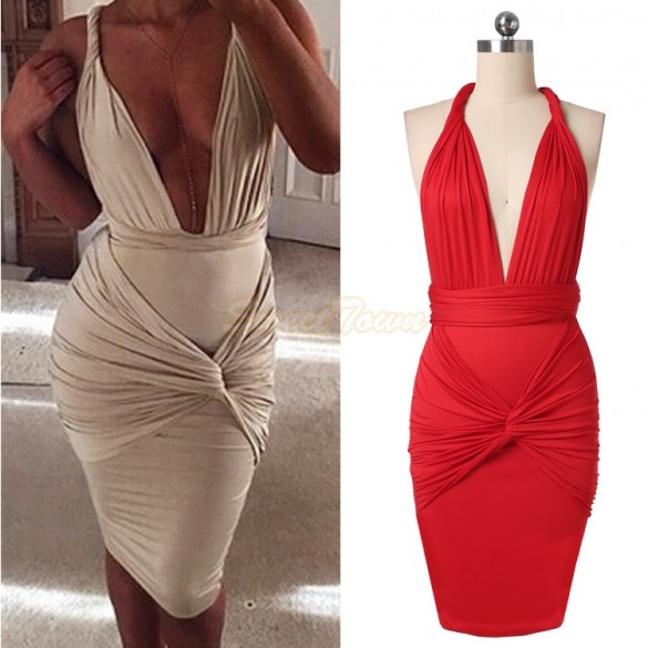 Factory Price Sexy Fashion Womens Clubwear Deep V Neck Backless Club Dresses Slim Bandage Bodycon Dress 12(China (Mainland))
