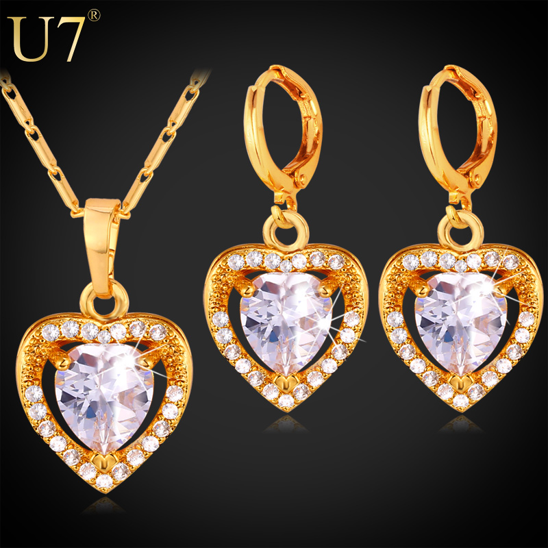 U7 Cubic Zirconia Jewelry Set Love Heart Fashion Necklace Earrings Sets Women Platinum/18K Gold Plated Jewelry Sets S724