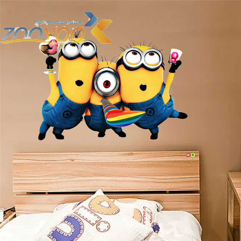 Despicable me 2 cute minions wall stickers for kids rooms ZooYoo1406 decorative adesivo de parede removable pvc wall decal(China (Mainland))