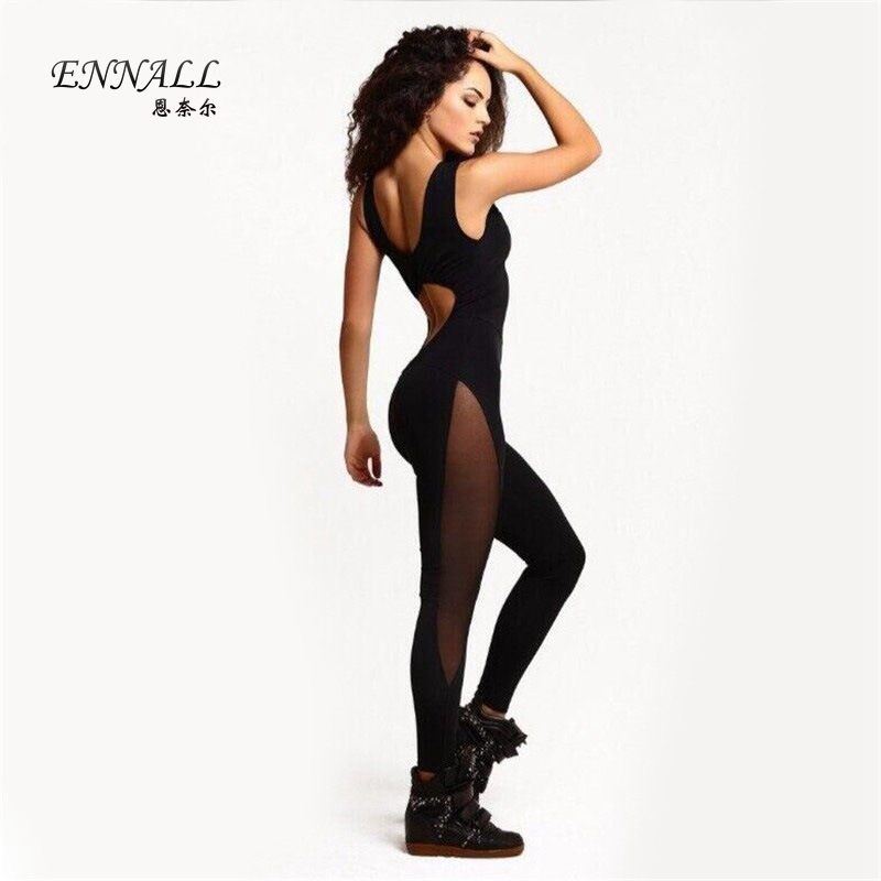 Europe 2016 sexy net yarn stitching solid color stretch pants personal big yards movement piece - Loving You Fashion Factory Limited store