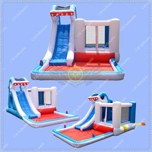 Cheap Inflatable Shark Slide with Bounce House Castle for Sale,Shark Inflatable Slide with Free Blower Included(China (Mainland))