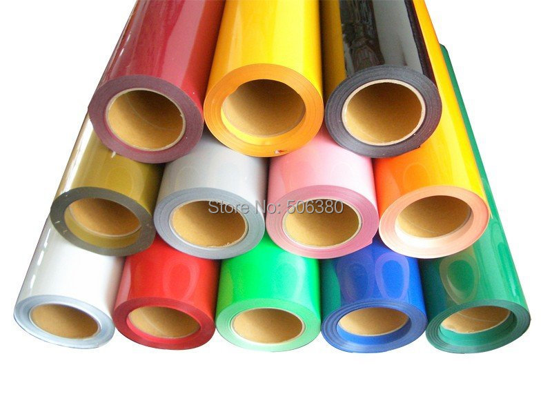 5 Rolls 50cmx100cm Heat Transfer PU Vinyl With Sticky Back 33colors Cutter Press(China (Mainland))