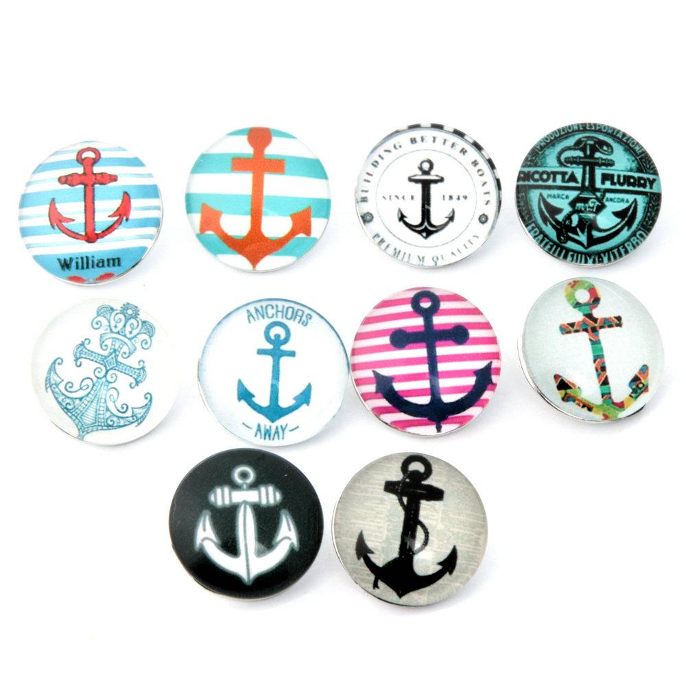 10pcs/lot Anchors Snap Buttons 18MM Glass Snap Button Fit Ginger Snap Button Bracelets Fit Armband Bracelets Necklace NA12-055(China (Mainland))