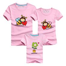 1 pc 95% Cotton T Shirt Bees Flower Red Family Set T Shirts Matching Family Clothing Men Women Kids Large T-Shirts 4XL Men Tees