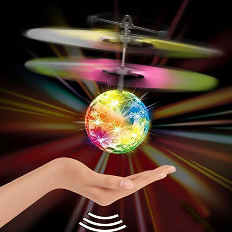 2016 New Control Aircraft Mini Flying Ball Helicopter Colorful LED Flash Sensing Sensor Flying UFO Remote Control Toy For Kids(China (Mainland))