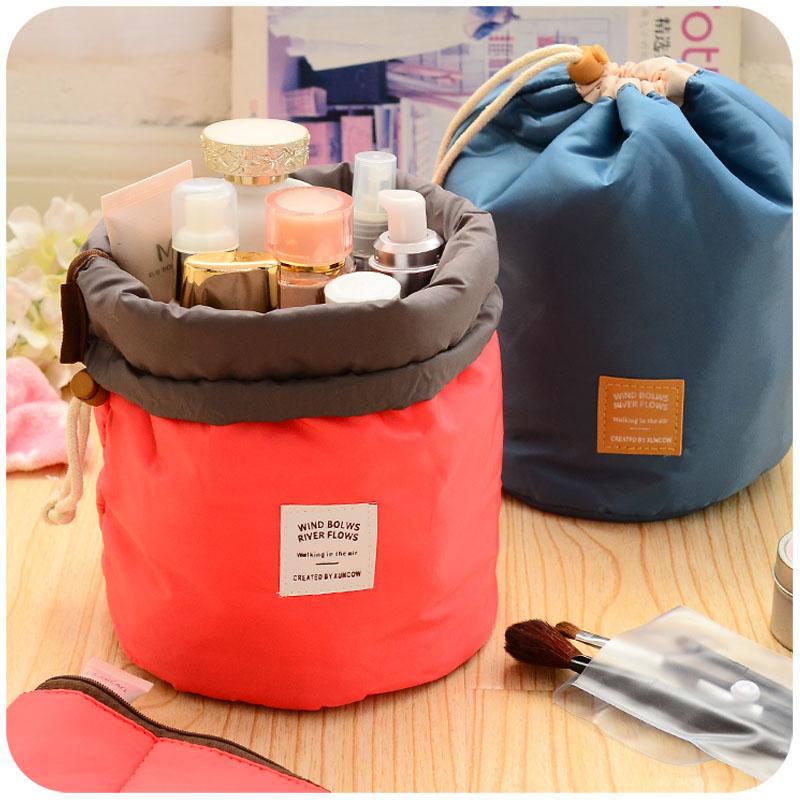 New Fashion High Capacity Barrel Shaped Travel Cosmetic Bag Nylon Wash Bags Makeup Organizer Storage brushes beauty case Pocket(China (Mainland))
