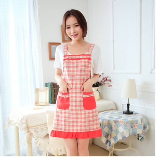 2015 Fashion Plain Simple cotton princess apron cute aprons kitchen(China (Mainland))