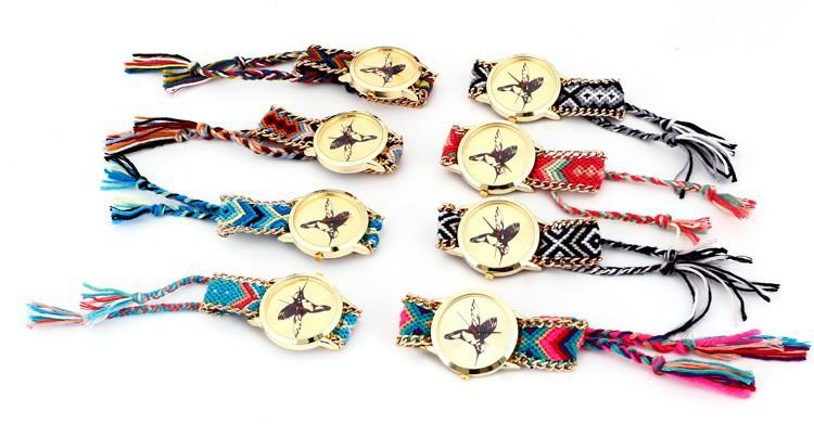 Hot selling Fashion National Weave DIY Birds Pattern Women Quartz Wristwatches Dress Watches Gold Plated Bracelets
