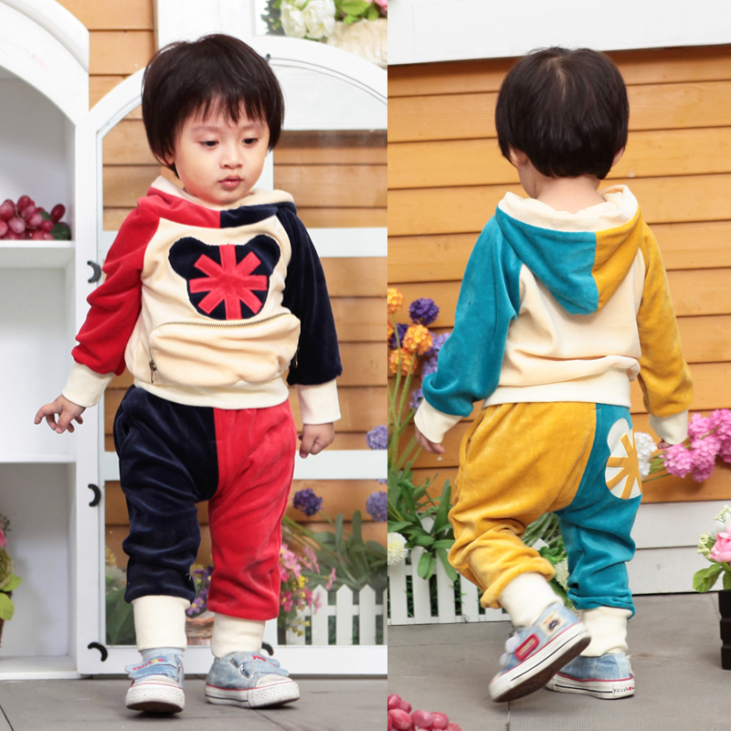 !fashion spring autumn 0-3 years children clothing set/corduroy baby cartoon micky mouse cloth/baby boy sport suit - Tiffanyhouse store