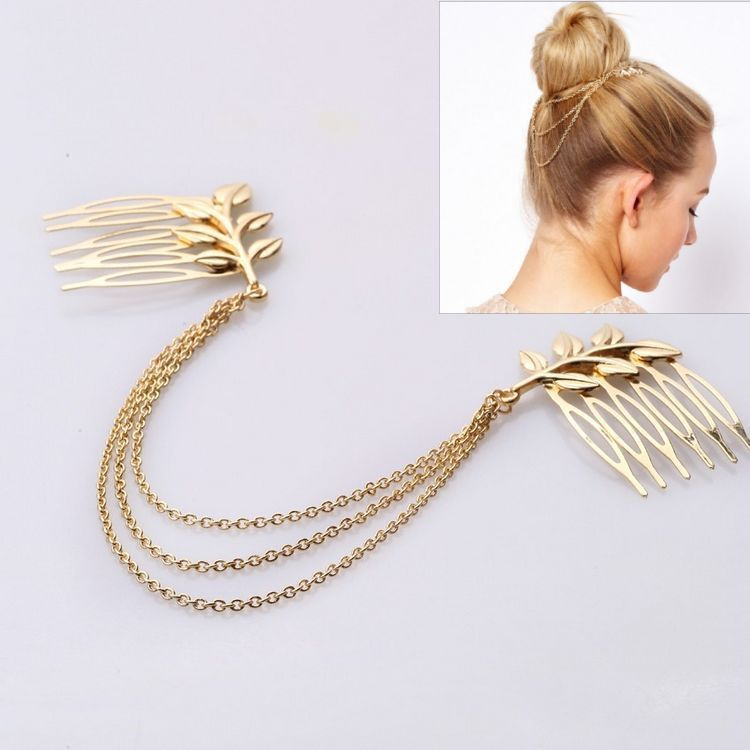 CCF225 Hot Selling New Design Hair Accessories Gold Plated Metal Leaf Hairpins Hair Combs Ornaments(China (Mainland))