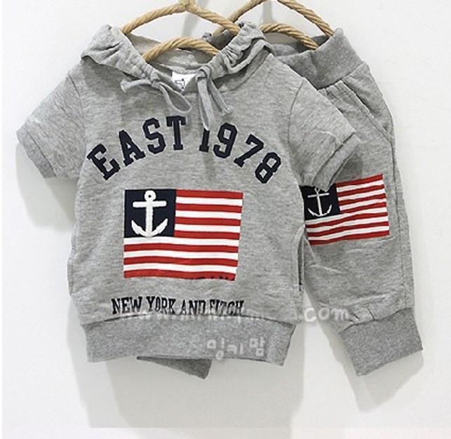 2015 Children clothes sets baby sport suits fashion kids summer sets T shirt pants cotton material