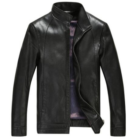 2016 весна мужская кожаная куртка свободного покроя воротник стойка кожаные пальто мужской короткая конструкция мужчины осень кожаная куртка черное пальто