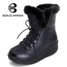 BONJOMARISA Nuevas Llegadas Zapatos de Encaje Hasta Zapatos de Plataforma A Prueba de agua Nieve Botas de Invierno de Las Mujeres Con Pelo Corto Tobillo Botas de Piel de Mujer(China (Mainland))